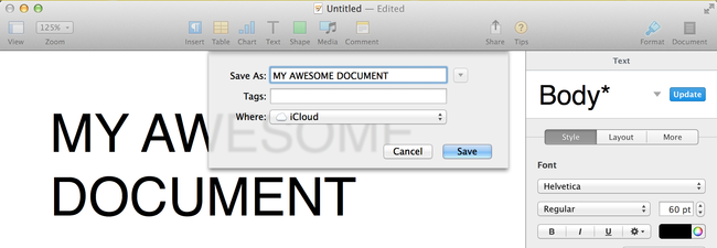 iCloud and Pages on OS X