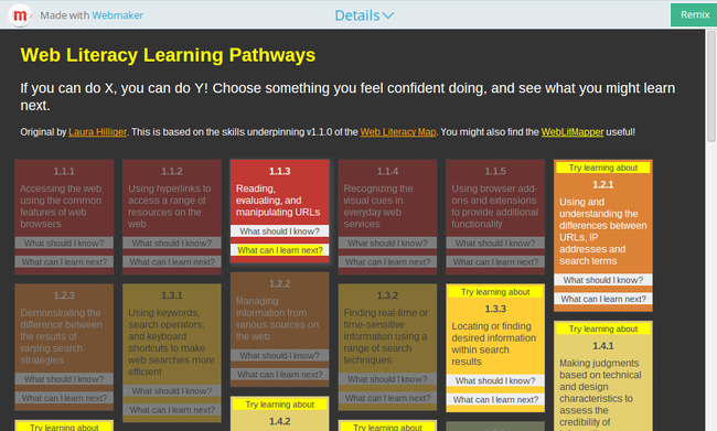 Web Literacy Learning Pathways